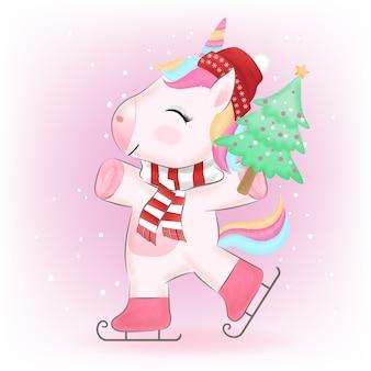 Piccolo unicorno con illustrazione dell'acquerello dell'albero di pino
