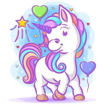 Piccolo unicorno bianco con i capelli arcobaleno in piedi vicino ai palloncini dell'amore