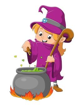 La piccola strega sta preparando la pozione nel vaso dell'illustrazione