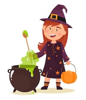 La piccola strega sta preparando una pozione. felice halloween. illustrazione in stile cartone animato piatto.