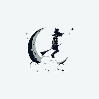 Modello di logo di piccola strega con scopa volante
