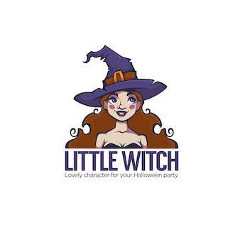 Piccola strega, ritratto di giovane strega attraente per la tua etichetta di halloween, logo, emblema