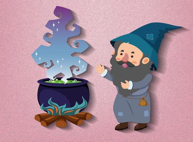 Personaggio dei cartoni animati di piccolo mago con pentola di pozione