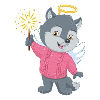 Piccolo lupo in costume da angelo con fuochi d'artificio su sfondo bianco