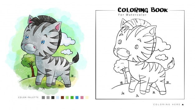 Piccola zebra nella giungla, illustrazione del fumetto per il libro da colorare dell'acquerello