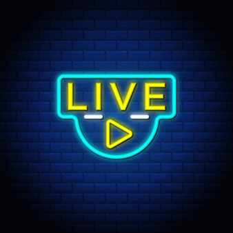 Live button insegne al neon stile design del testo nel muro di mattoni