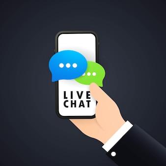Banner di chat dal vivo o mano che tiene il telefono in mano con l'icona del messaggio. comunicazione. segno di conversazione.