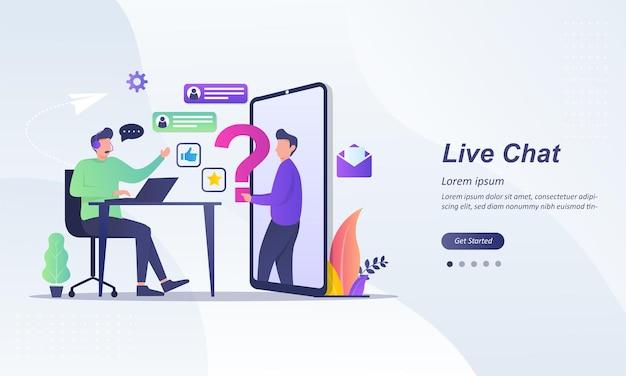 Operatore di chat dal vivo con auricolare che esegue feedback dal vivo