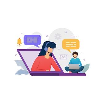 Chat dal vivo con l'illustrazione vettoriale del servizio clienti