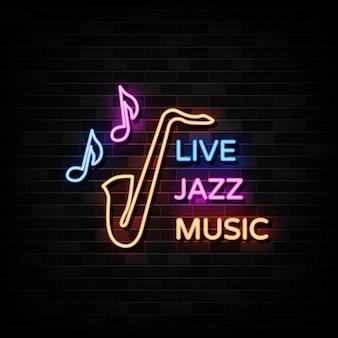 Live jazz music night neon.