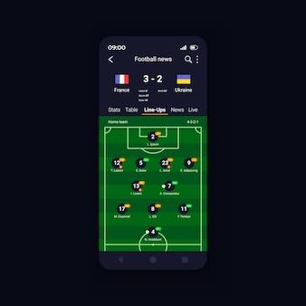 Modello di vettore dell'interfaccia dello smartphone con i punteggi delle partite di calcio in diretta