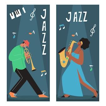 Banda musicale dal vivo che suona sassofono, trombone, contrabbasso, pianoforte. persone che suonano strumenti musicali.