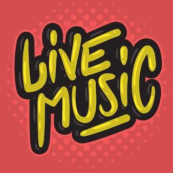 Musica dal vivo concerto dj set party related hand drawn brush lettering tipo di calligrafia
