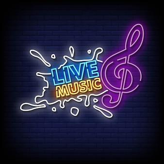 Musica dal vivo insegne al neon stile testo vettoriale