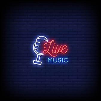 Testo di stile di insegne al neon di musica dal vivo