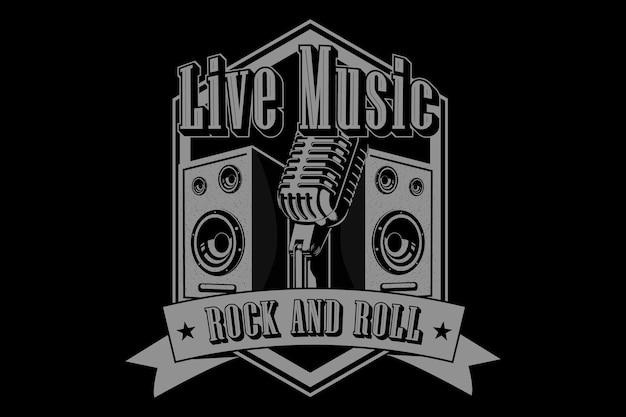 Design tipografico rock and roll di musica dal vivo