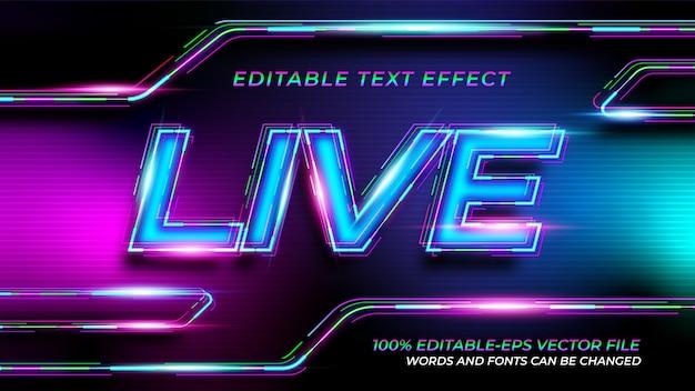 Effetto di testo al neon dal vivo