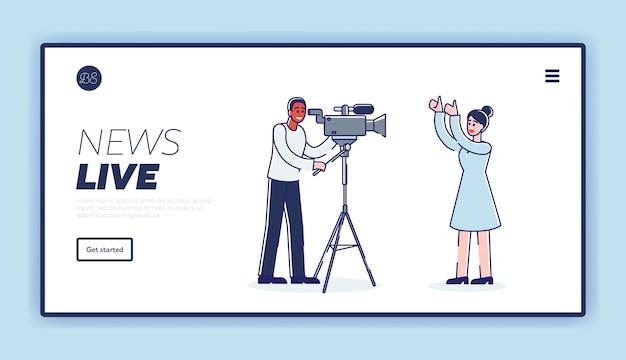 Pagina di destinazione del reportage di notizie in diretta con corrispondente donna giornalista