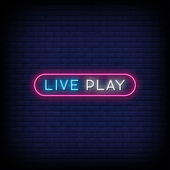 Live play insegne al neon in stile testo vettoriale