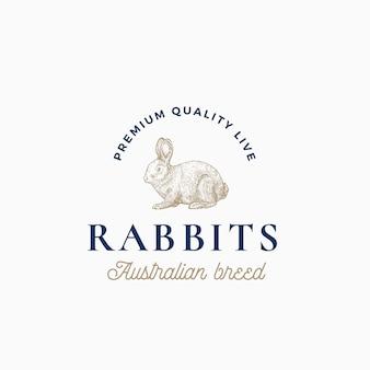 Razza australiana di conigli vivi. segno astratto, simbolo o modello di logo. schizzo di sillhouette di coniglio stile incisione disegnata a mano con tipografia retrò di classe. emblema vintage.