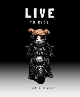 Vivi per guidare lo slogan con il giocattolo dell'orso in maschera e occhiali da sole in sella all'illustrazione della motocicletta
