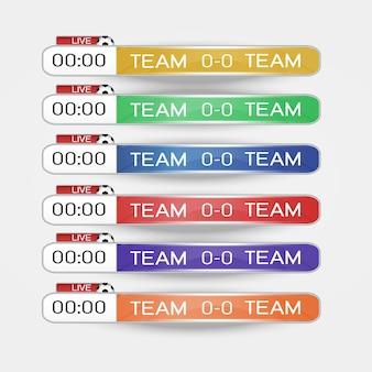 Tabellone segnapunti in diretta modello grafico a schermo digitale