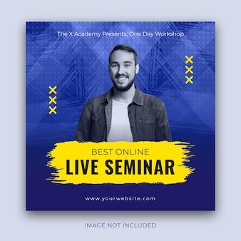 Pubblicità per seminari dal vivo di dimensioni quadrate per post su instagram