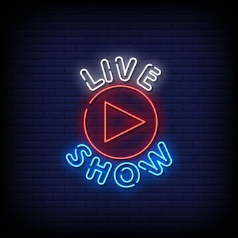 Live show insegne al neon stile testo vettoriale
