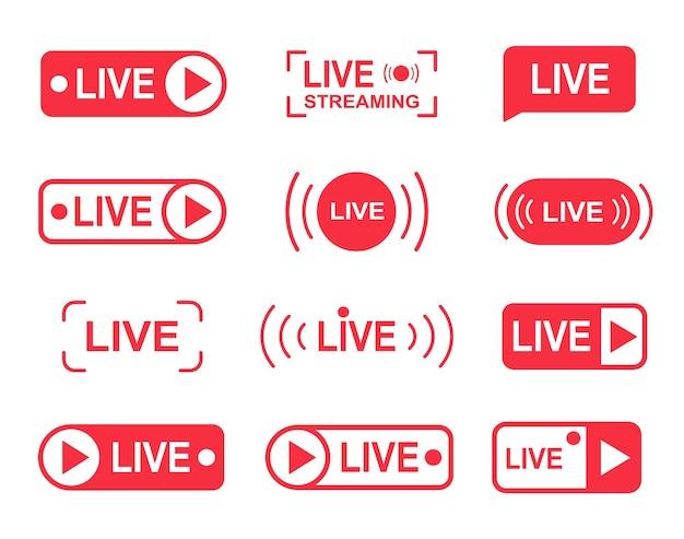 Pulsanti per il live streaming, icone del lettore di live streaming online. concetto di social media per tv, spettacoli.