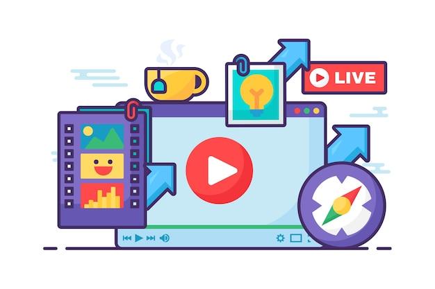 Icona di concetto di idea creativa in live streaming