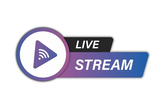 Icona del live streaming. elemento di streaming live per la trasmissione o lo streaming tv online. icone del flusso video. simbolo sull'argomento dell'istruzione online con l'icona del flusso video in diretta, streaming