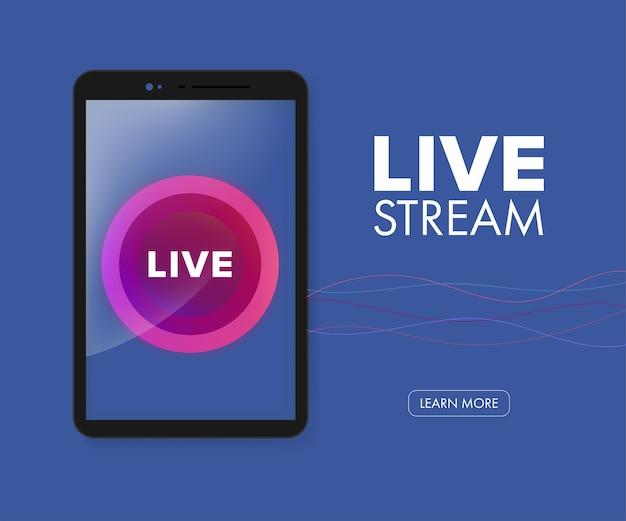 In diretta streaming icona vettoriale su applicazione mobile.
