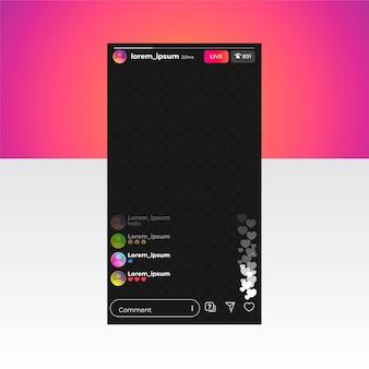 Modello di interfaccia di instagram live stream
