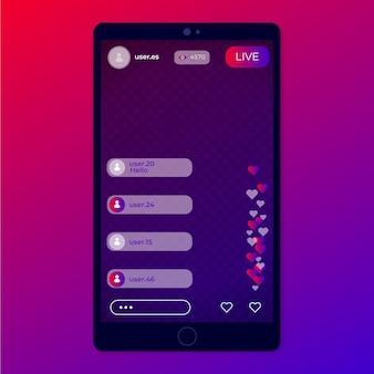 Interfaccia di instagram live streaming