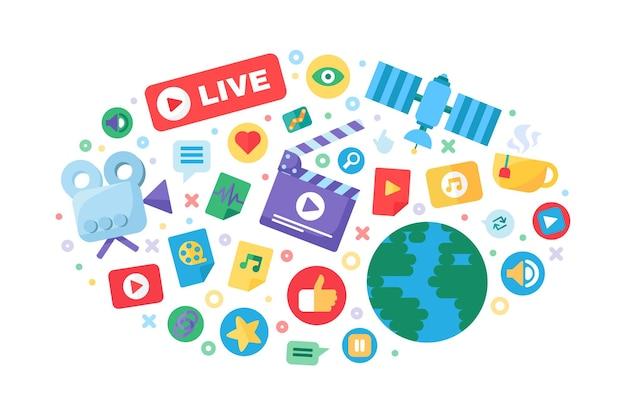 Icona del concetto di produzione di streaming live