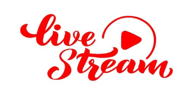 Iscrizione di disegno a mano di vettore di live streaming per la chat video in live streaming del sito web di progetti il vettore