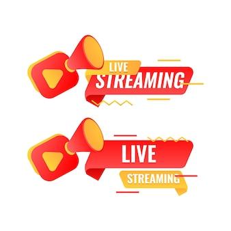 Design di banner in live streaming con decorazione di bolle e fotocamera in stile memphis
