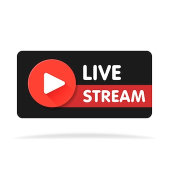 Banner in streaming live - elemento di disegno vettoriale rosso con pulsante di riproduzione. illustrazione vettoriale.