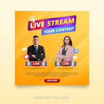 Design del modello di banner in live streaming con icone emoji