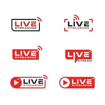 Collezione di design di icone di trasmissione in diretta streaming