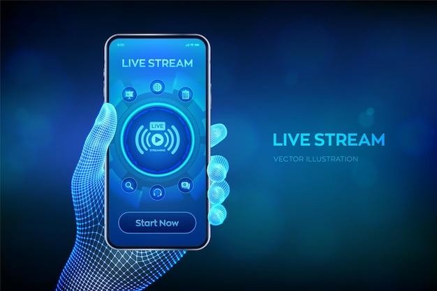 Concetto di live streaming su schermo virtuale. seminario web. traduzione in linea. conferenza internet. seminario basato sul web. apprendimento a distanza o concetto di formazione. smartphone del primo piano in mano del wireframe. vettore.