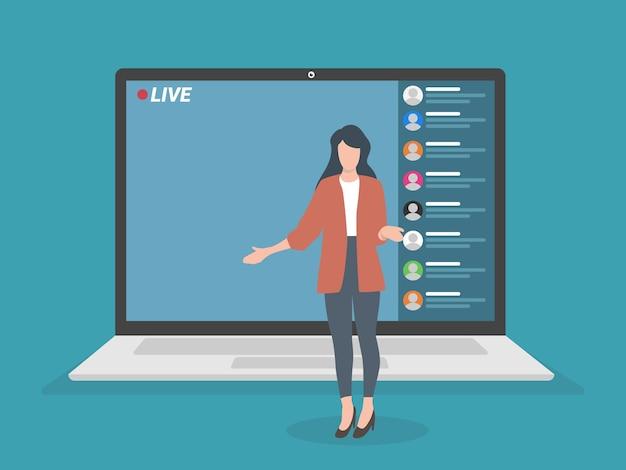 Evento di live streaming, giovane donna che si esibisce davanti alla telecamera del laptop, attività a distanza