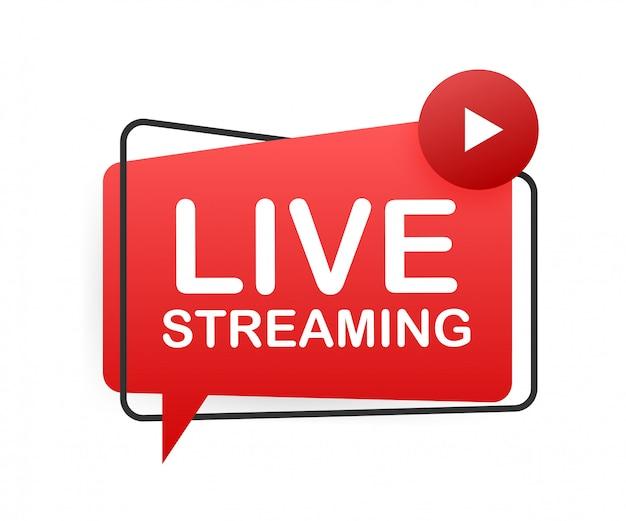 Logo piatto streaming live, elemento di design rosso con pulsante di riproduzione. illustrazione