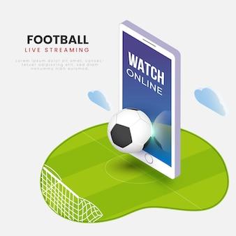 Schermo di riproduzione di video di calcio in streaming live in smartphone 3d.
