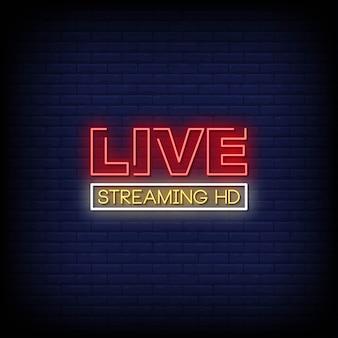 Testo in stile live streaming hd insegne al neon