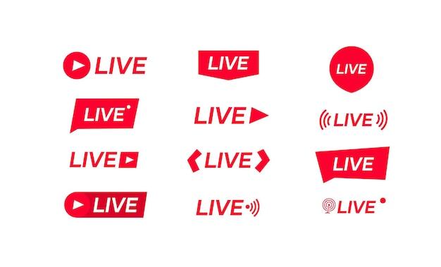 Icone di streaming live isolate su bianco. illustrazione illustrazione