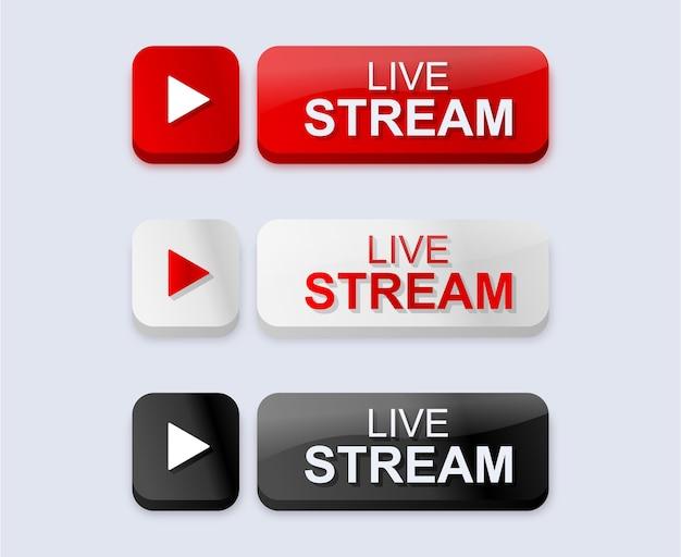 Icone di live streaming in pulsanti moderni