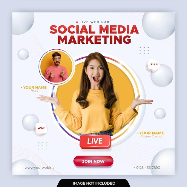 Modello di post instagram in live streaming per il marketing aziendale