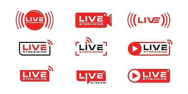 Modello di ispirazione per il design della collezione di icone del logo in live streaming