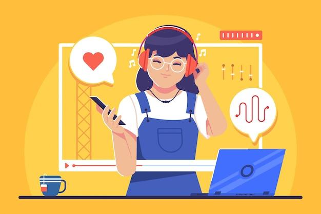 Concetto dell'illustrazione di musica in diretta streaming